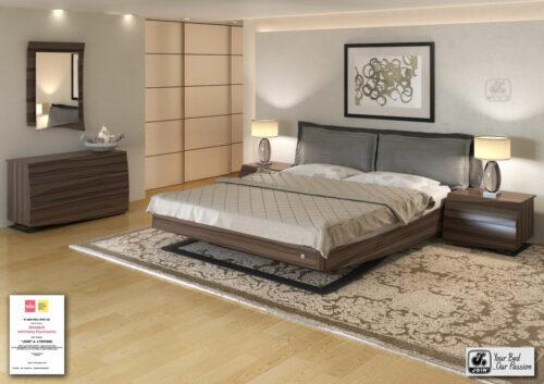 Κρεβατοκάμαρα Άλκηστη Pillow με μεξιλάρες στο κεφαλάρι -σκουρόχρωμη ελιά