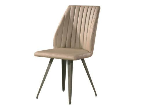 Μοντέρνα καρέκλα τραπεζαρίας - AURA - με capuccino τεχνόδερμα και μεταλλικά πόδια Retro