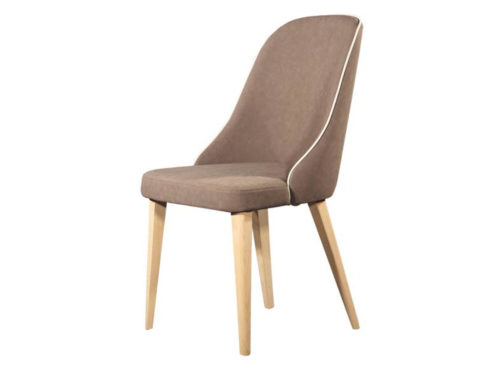 Μοντέρνα καρέκλα τραπεζαρίας - Espina Wood με ξύλινη βάση και ύφασμα χρώματος MOKA