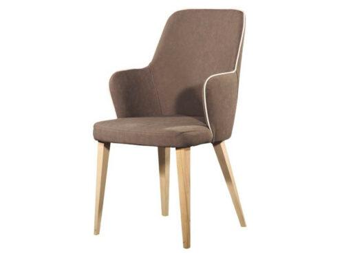 Μοντέρνα καρέκλα - με μπράτσα τραπεζαρίας - Espina Wood με ξύλινη βάση και ύφασμα χρώματος MOKA